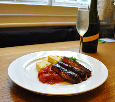 Sausages and Polenta
