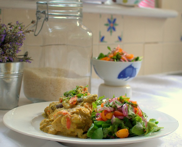 Chicken Kapitan with an Asian Tomato Salad